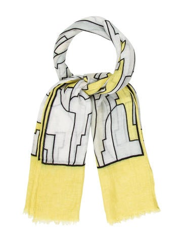 Emilio Pucci Abstract Linen Scarf None