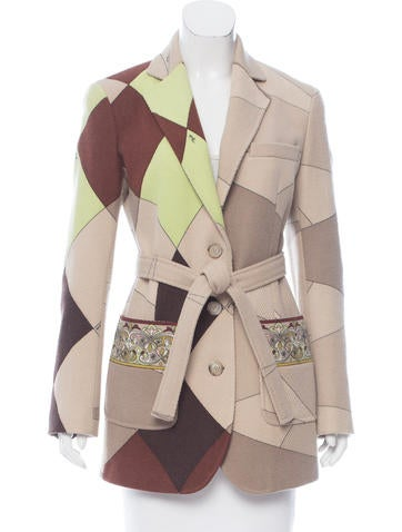 Emilio Pucci Abstract Print Wool Coat None