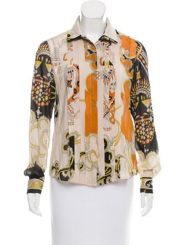 Emilio Pucci Printed Silk Top None