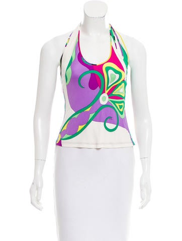 Emilio Pucci Silk Halter Top None