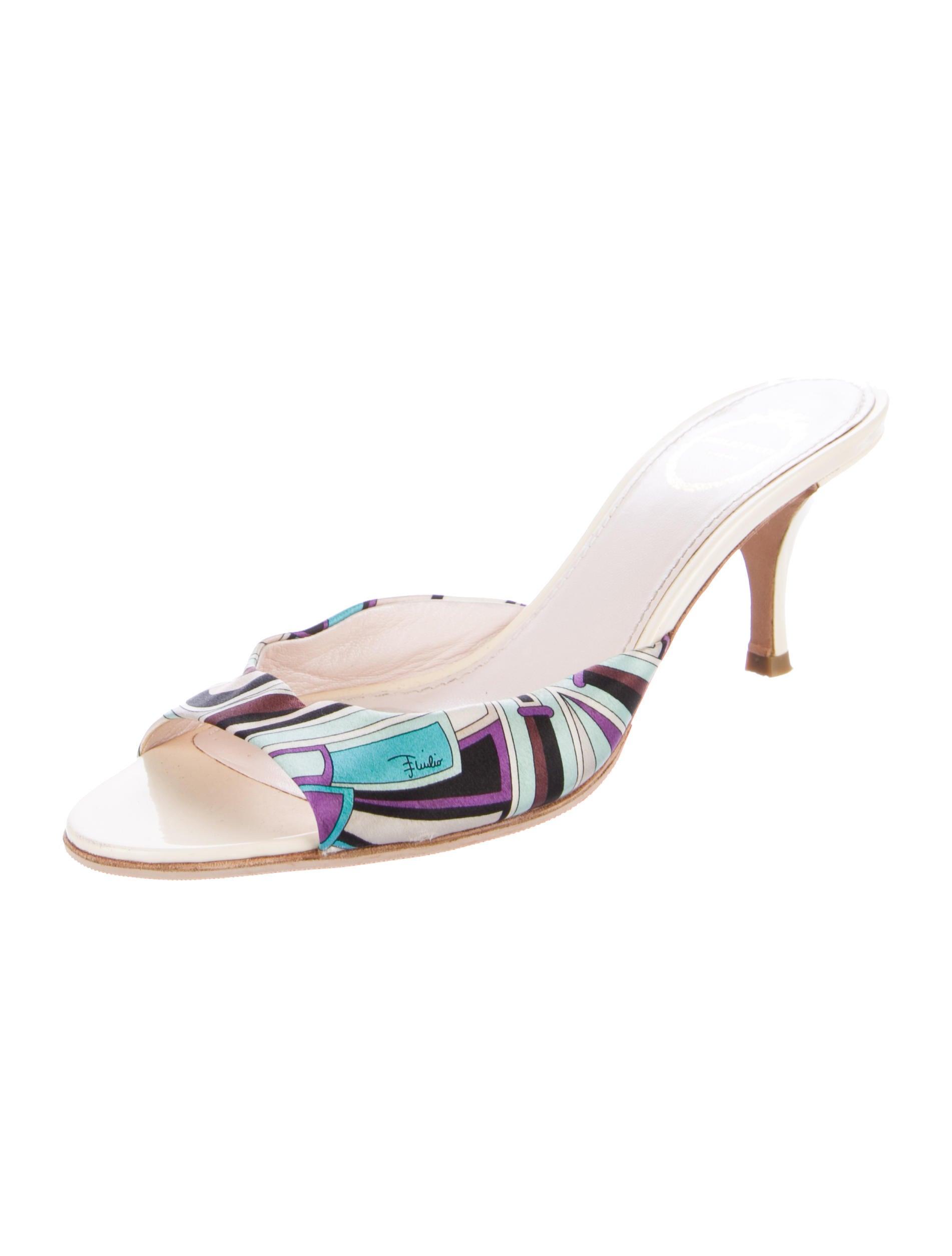 the cheapest for sale Emilio Pucci Satin Abstract Print Sandals 2014 unisex cheap online osaTJghPk