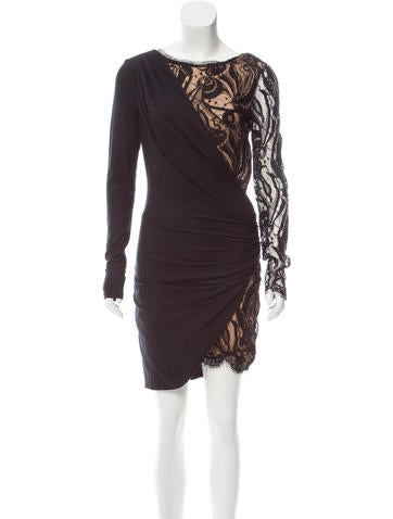 Emilio Pucci Lace-Trimmed Wool Dress None