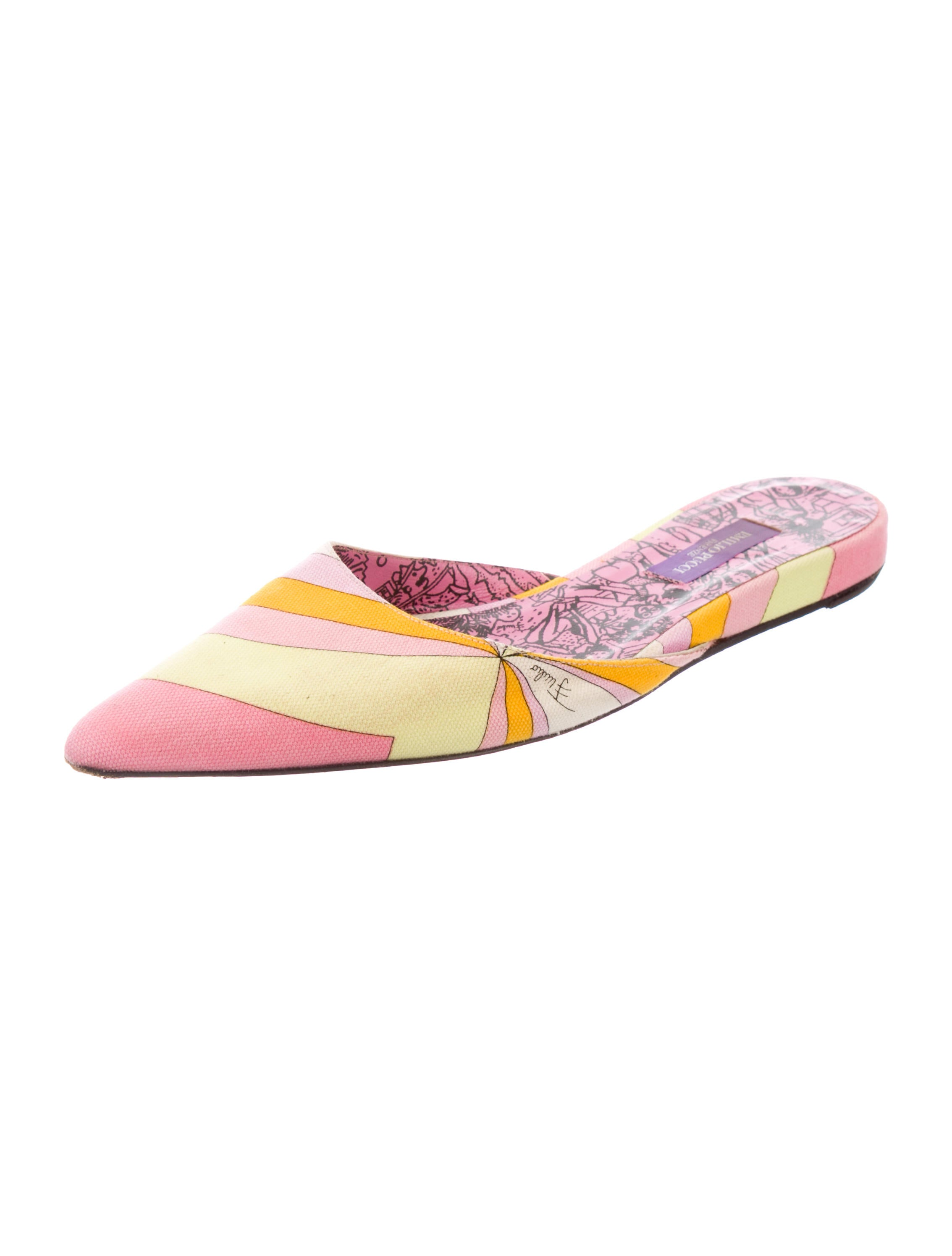 Emilio Pucci Canvas Pointed-Toe Mules footlocker store for sale sale new arrival get authentic cheap price 2014 unisex sale online 6jb1RxQAV