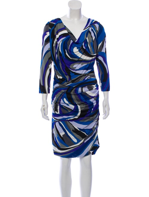 Emilio Pucci Abstract Print Midi Dress Blue