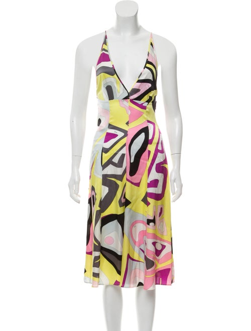 Emilio Pucci Abstract Print Silk Dress Yellow