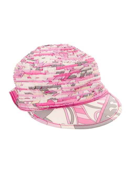 Emilio Pucci Ruched Abstract Print Hat Pink