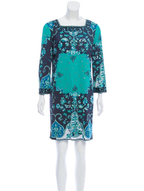 Emilio Pucci Silk Print Dress Blue