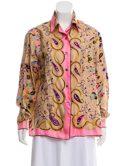 Emilio Pucci Silk Abstract Print Blouse Beige