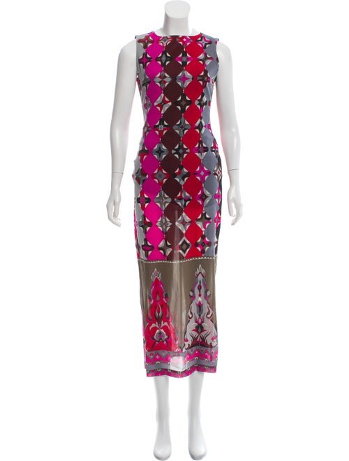 Emilio Pucci Silk Print Maxi Dress Grey