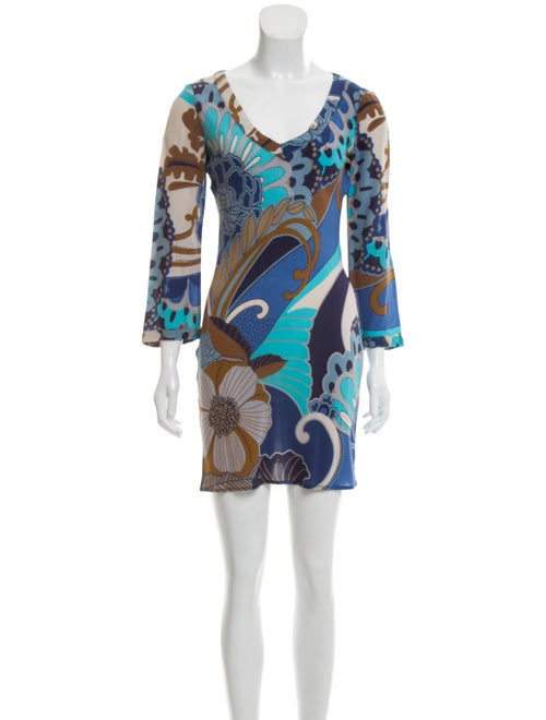 Emilio Pucci Floral Print Mini Dress Blue