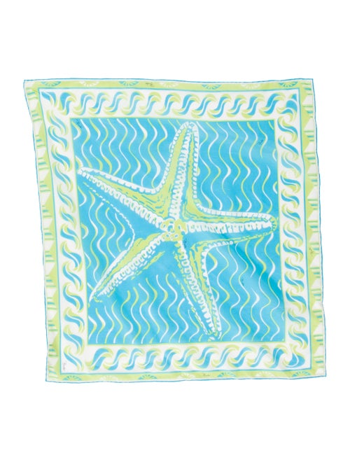 Emilio Pucci Lightweight Abstract Print Scarf Blue