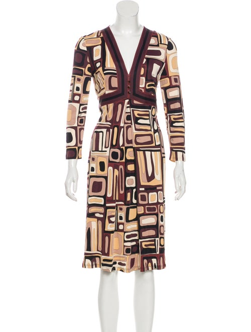 Emilio Pucci Geometric Print Midi Dress beige