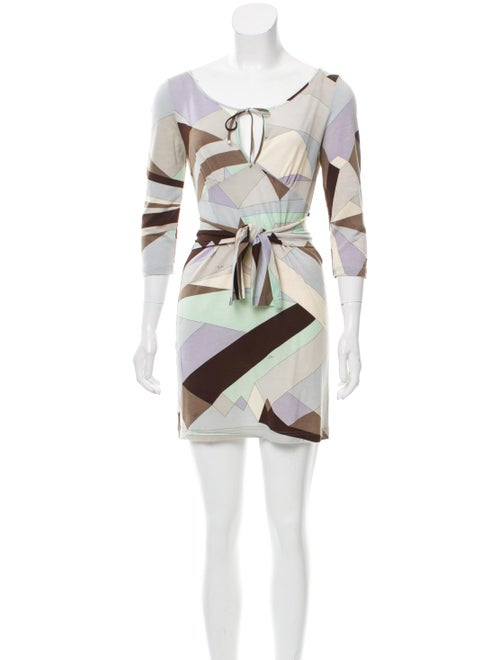 Emilio Pucci Wool Abstract Print Dress blue