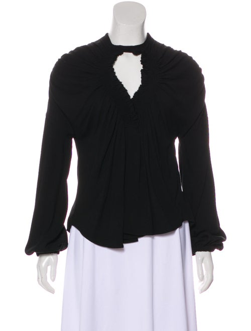 Emilio Pucci Smocked-Accented Long Sleeve Top Blac
