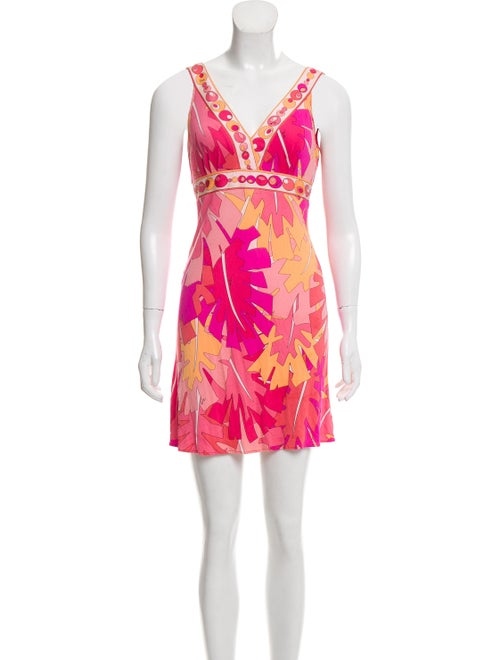 Emilio Pucci Silk Abstract Print Dress Pink