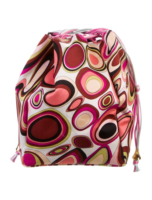 Emilio Pucci Abstract Print Satin Pouch multicolor