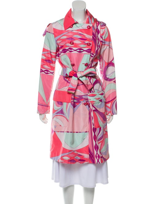 Emilio Pucci Printed Trench Coat Pink