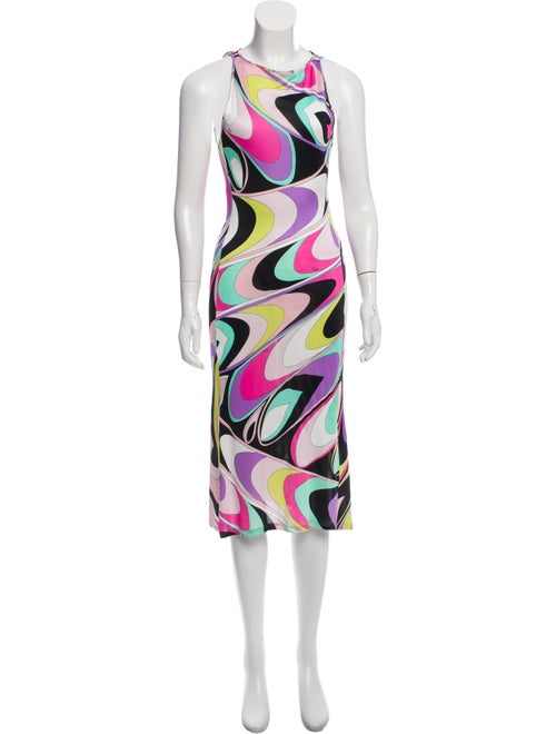 Emilio Pucci Abstract Print Sleeveless Dress Fuchs