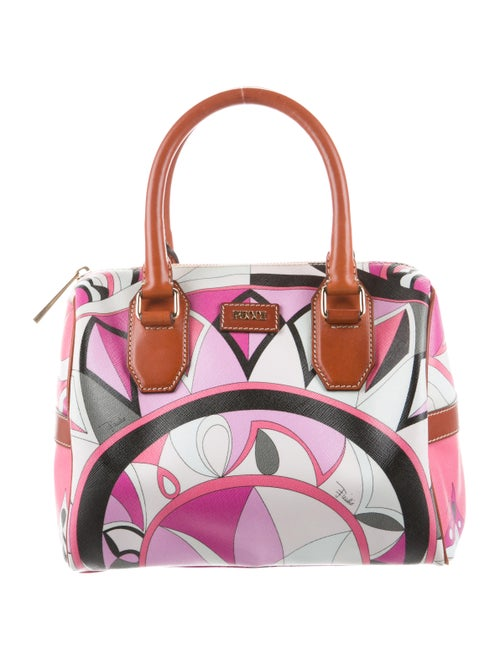Emilio Pucci Leather-Trimmed Print Handle Bag Mage