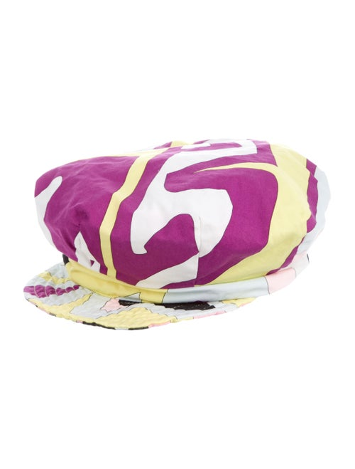 Emilio Pucci Woven Abstract Print Hat Violet