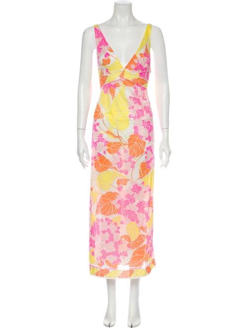 Emilio Pucci Floral Print Long Dress Pink