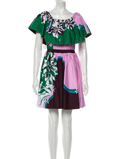 Emilio Pucci Floral Print Mini Dress Green