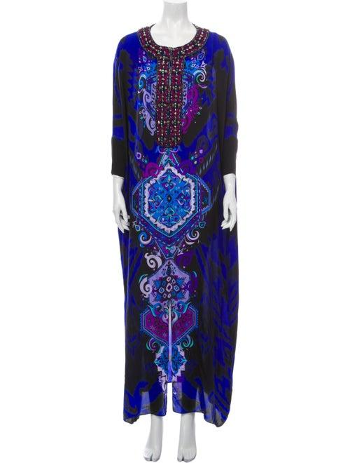 Emilio Pucci Silk Long Dress Blue