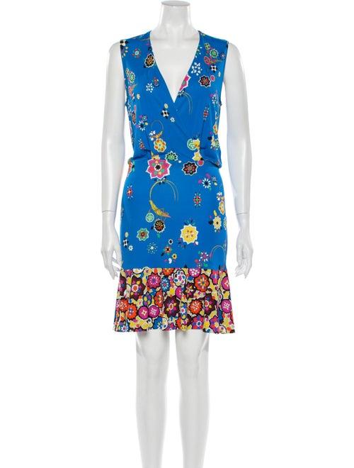 Emilio Pucci Floral Print Mini Dress Blue