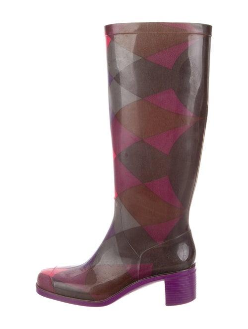 Emilio Pucci Plaid Print Rain Boots Purple