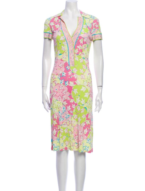 Emilio Pucci Floral Print Knee-Length Dress Yellow