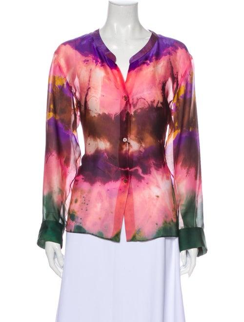 Emilio Pucci Silk Tie-Dye Print Blouse w/ Tags Pin