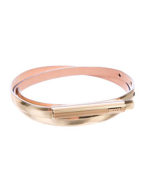 Emilio Pucci Metallic Skinny Belt Gold