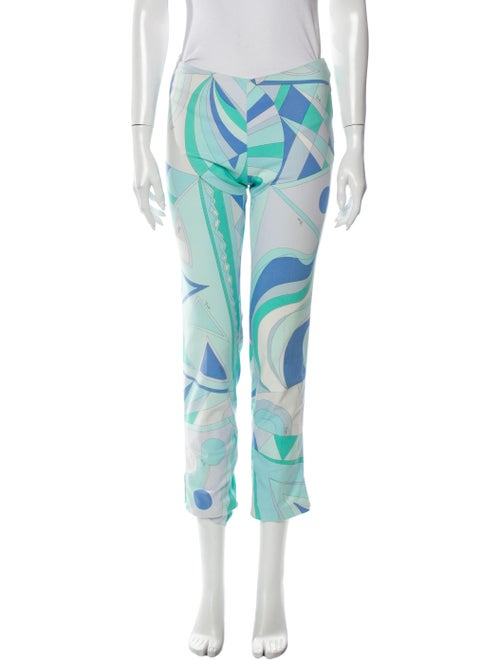 Emilio Pucci Printed Straight Leg Pants Blue