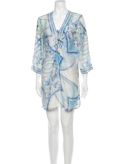 Emilio Pucci Paisley Print Mini Dress Blue
