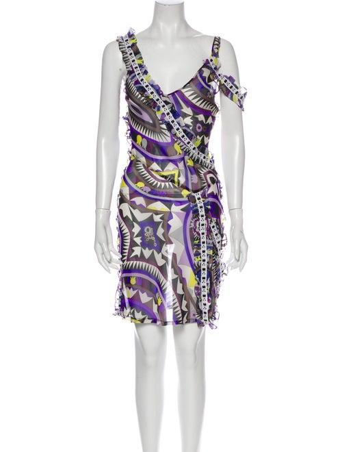 Emilio Pucci Silk Mini Dress Blue