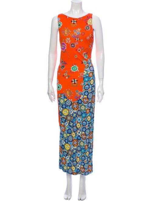 Emilio Pucci Floral Print Long Dress Orange