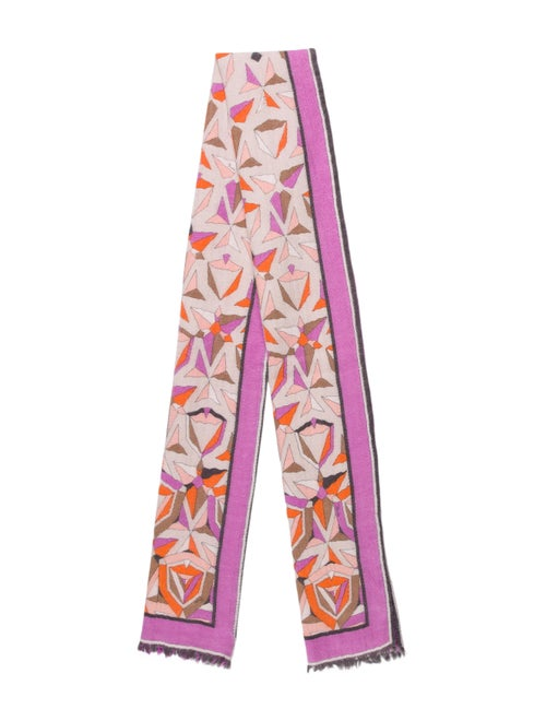 Emilio Pucci Wool Abstract Print Scarf Purple