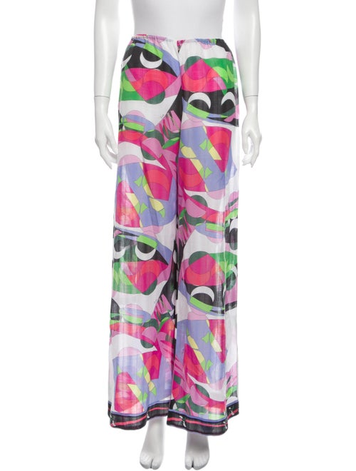 Emilio Pucci Printed Wide Leg Pants White