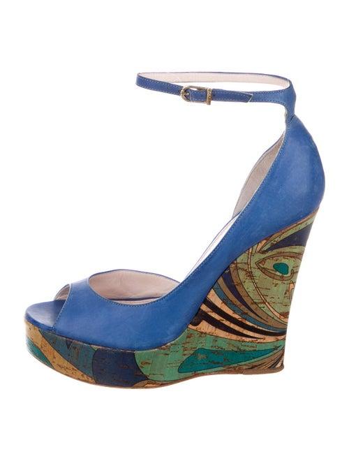 Emilio Pucci Leather Printed Sandals Blue