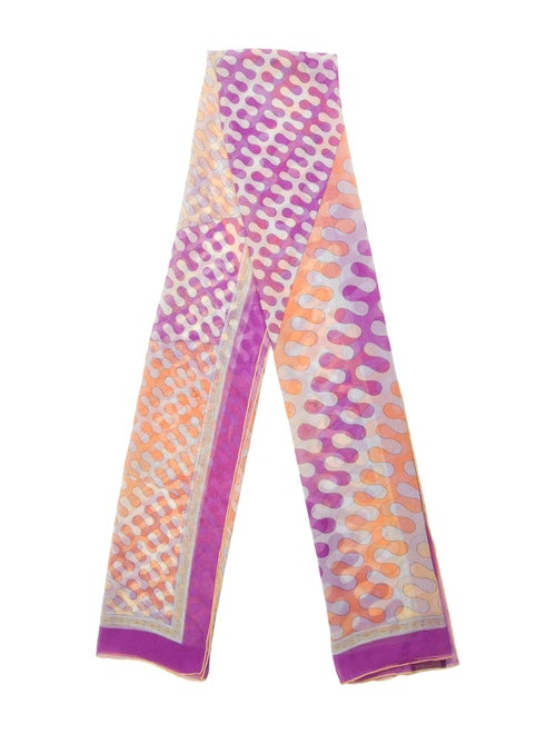 Emilio Pucci Sheer Abstract Print Scarf Purple