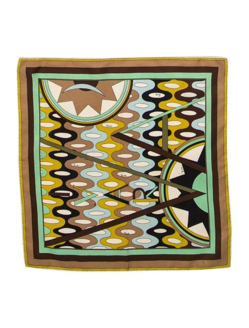 Emilio Pucci Silk Print Scarf Brown