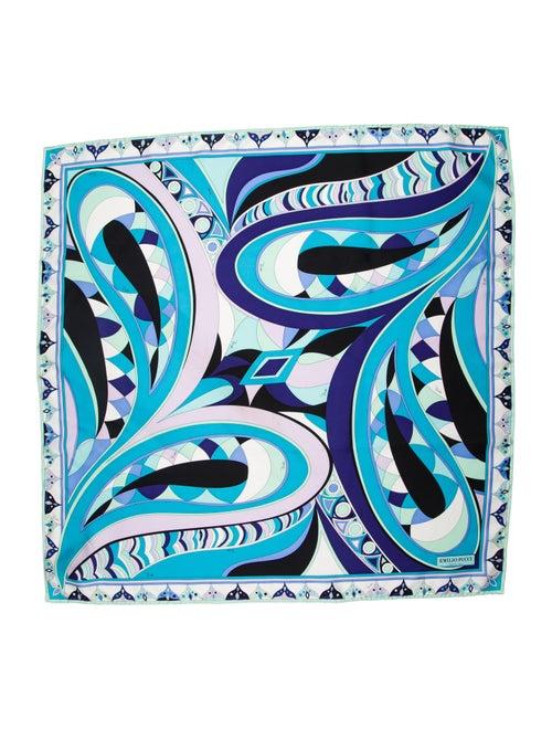 Emilio Pucci Silk Print Scarf blue