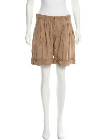 Emporio Armani Perforated Suede Shorts w/ Tags None