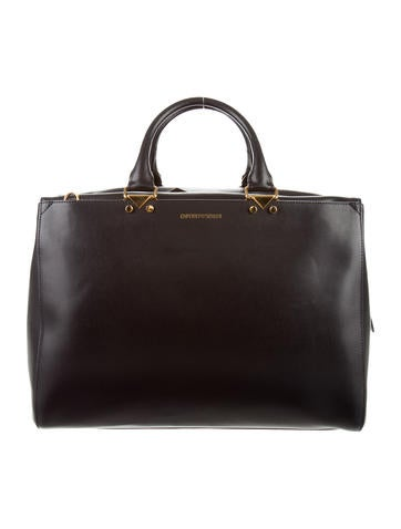 Emporio Armani Black Leather Satchel None