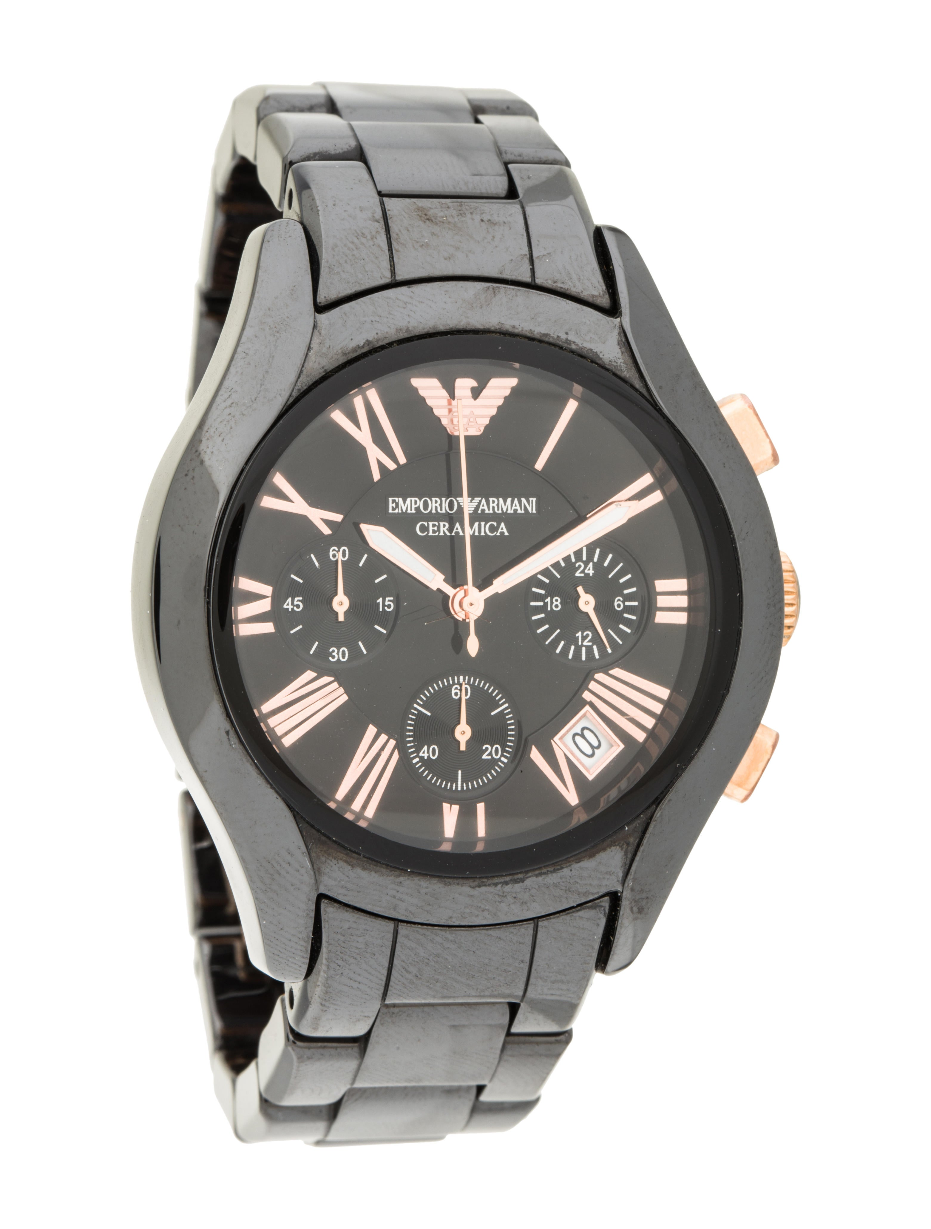 emporio armani black ceramic chronograph watch bracelet. Black Bedroom Furniture Sets. Home Design Ideas