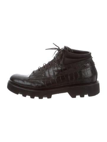 Emporio Armani Embossed Leather Boots None