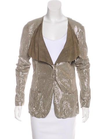 Emporio Armani Suede Metallic Jacket None