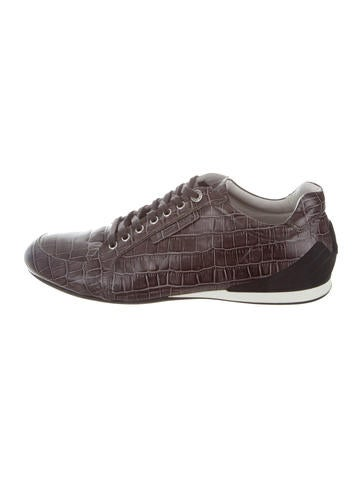 Emporio Armani Embossed Leather Low-Top Sneakers None