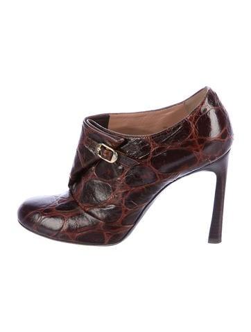 Emporio Armani Embossed Leather Round-Toe Booties None