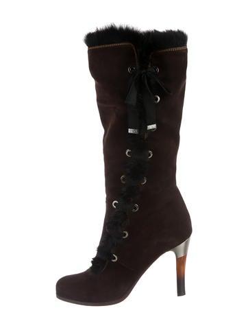 Emporio Armani Mink-Trimmed Suede Boots None